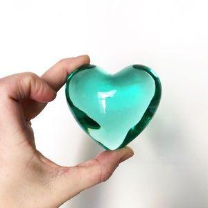 Green Heart Blown Glass Vintage Paperweight